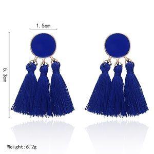 Bohemian Tassel Earrings. Blue.